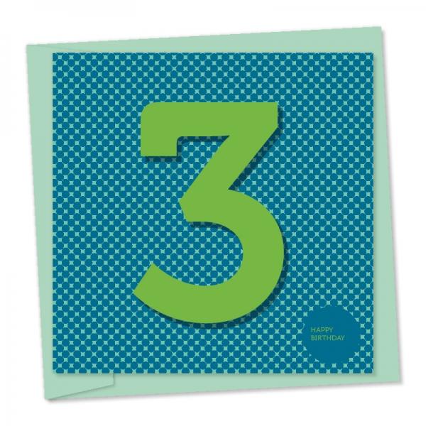 3rd birthday bright green number