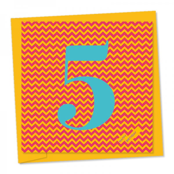 5th birthday pale blue number pink and orange zig zag