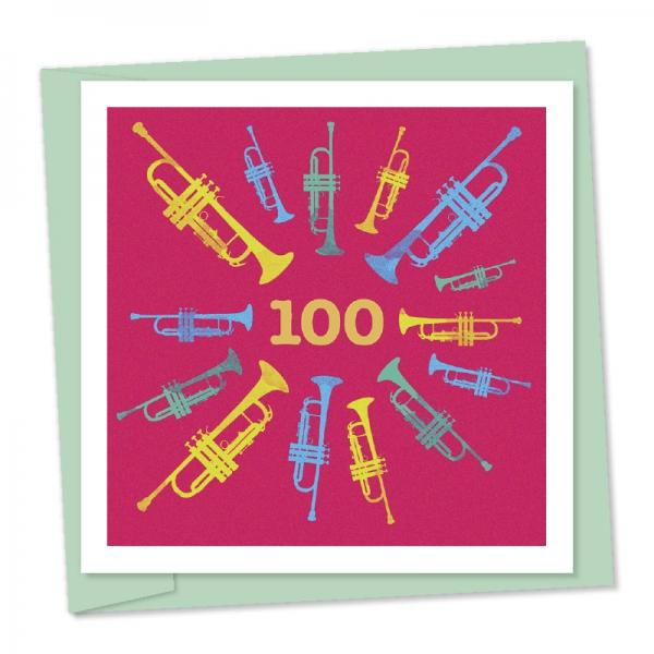 100th birthday multi coloured trumpets