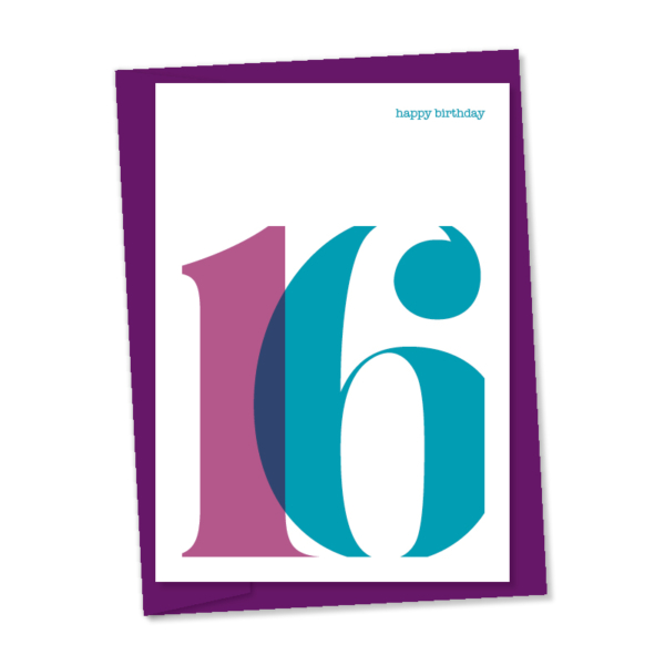 16th birthday card purple and blue