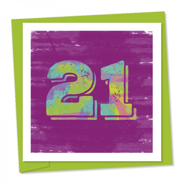 21st birthday green and aqua numbers purple watercolour background