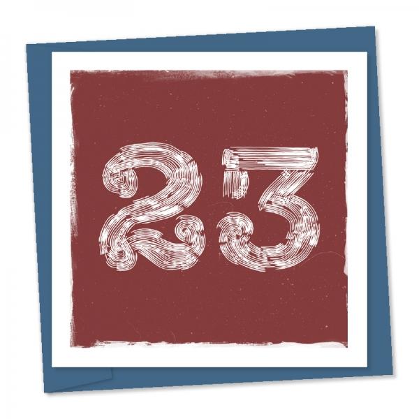 23rd birthday linocut