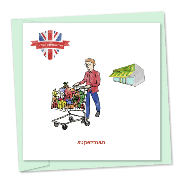 superman - leaving the supermarket british superhero