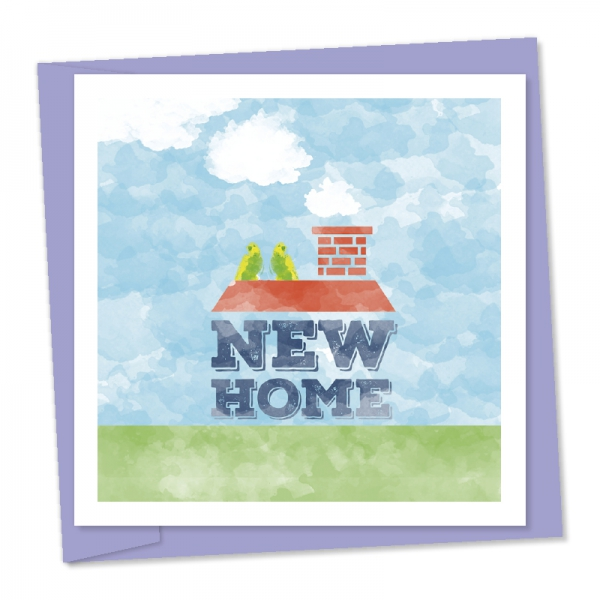 new home – house illustration with parakeets