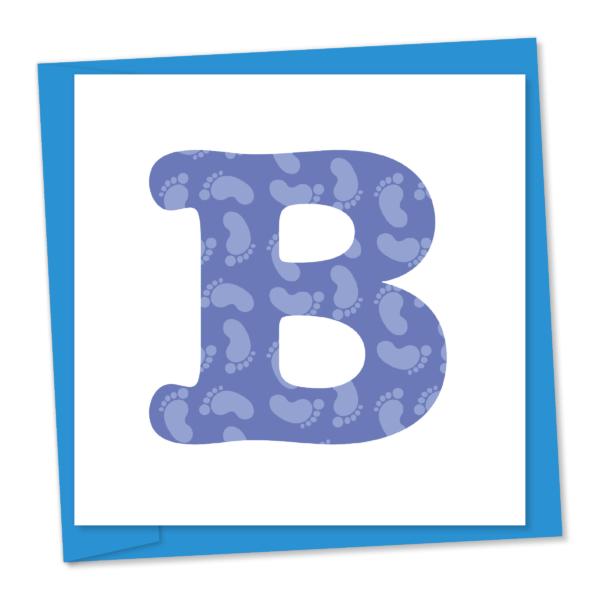 Blue baby boy B with baby feet pattern
