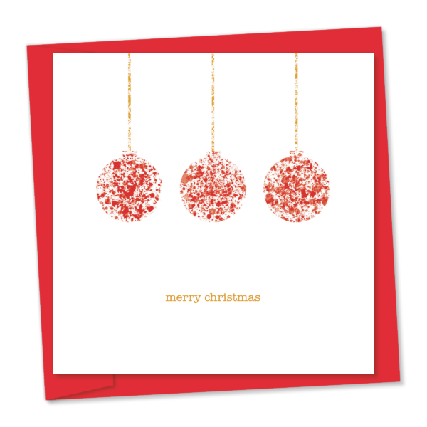 merry christmas – three red hanging baubles
